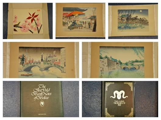 Vintage Japanese Woodblock Prints & Gold Currency from Belize and Gold stamps from Mongolia