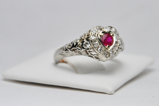 Ruby & Diamond Ring in White Gold