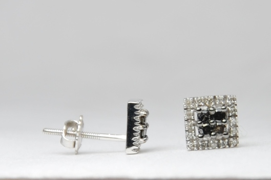 Black & White Diamond Stud Earrings