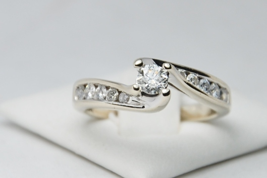 14KW 3 Stone Diamond Engagement Ring Set with Wrap