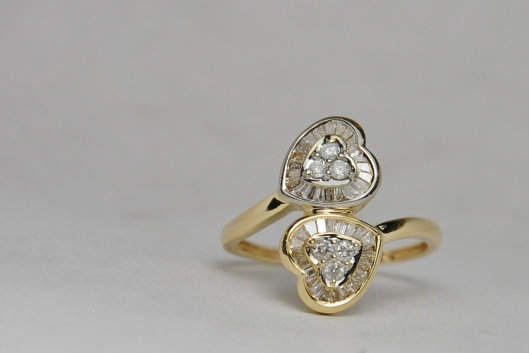 14K Double Heart Diamonds Baguette Bypass Ring
