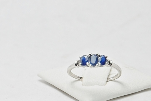 14K White Gold Sapphire Three Stone Ring with Diamonds
