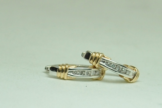 10K Two Tone Gold Diamond Hoop Earrings