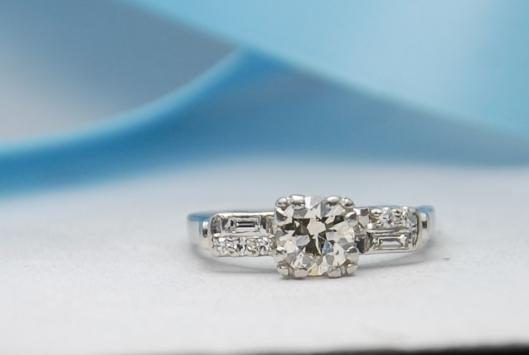 vintage platinum engagement ring art deco diamond