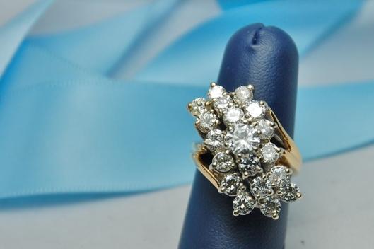14K Yellow Gold Waterfall Cocktail Diamond Ring